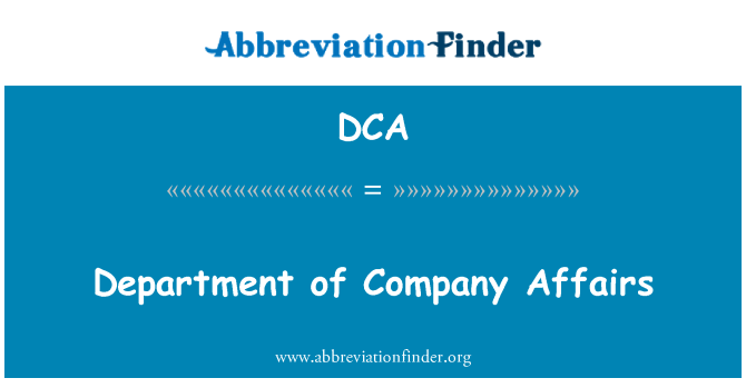 DCA: Department of Company Affairs