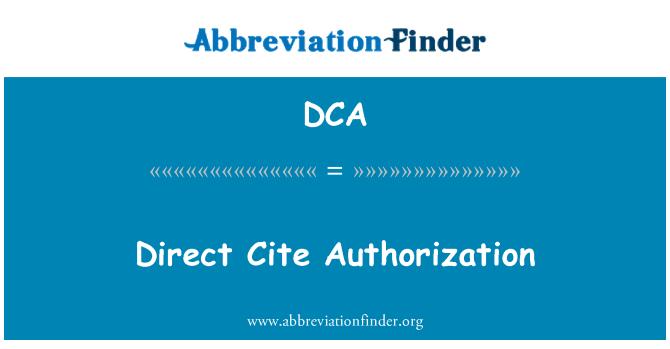 DCA: Direct Cite Authorization