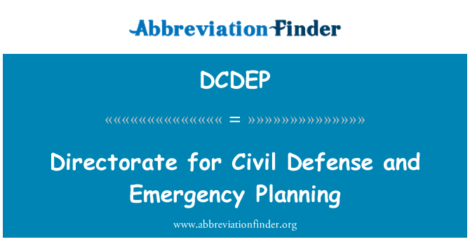 DCDEP: Directorate for Civil Defense and Emergency Planning