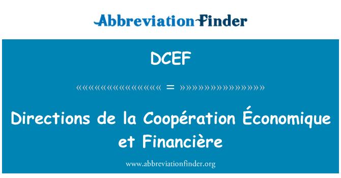 DCEF: Arahan la de Coopération Économique et Financière