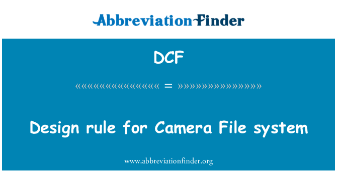 DCF: Design rule for Camera File system