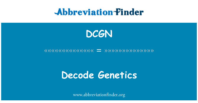 DCGN: Decode Genetics