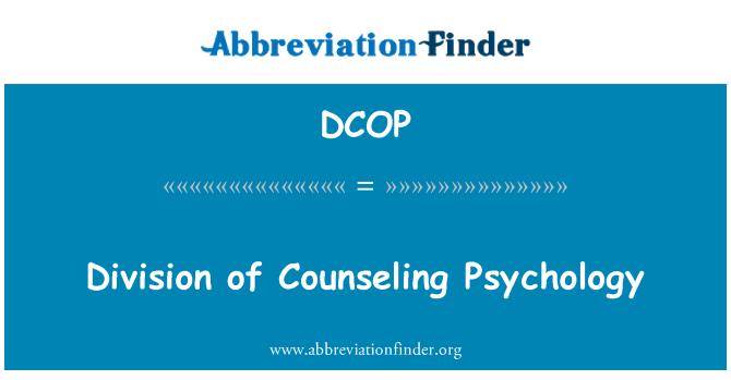 DCOP: Psikoloji danışmanlık, bölünme