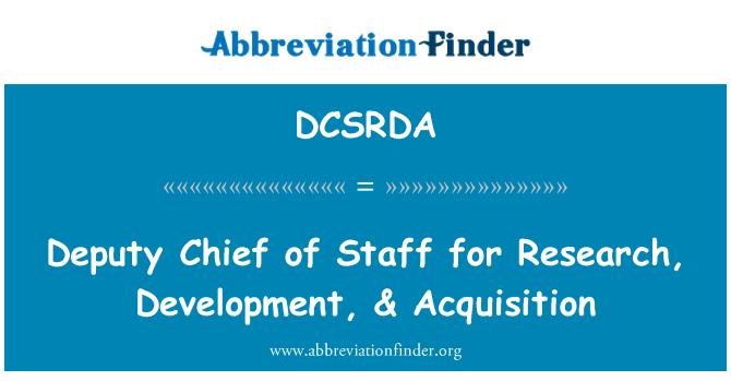 DCSRDA: Vice capo del personale per ricerca, sviluppo, acquisizione &