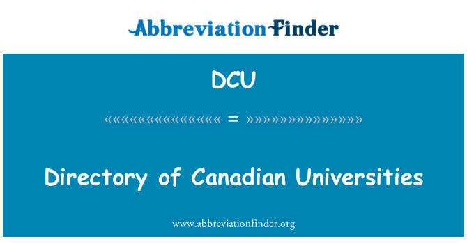DCU: Directory of Canadian Universities