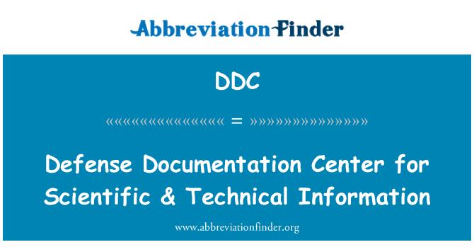 DDC: Defense Documentation Center for Scientific & Technical Information