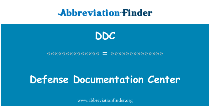 DDC: Defense Documentation Center