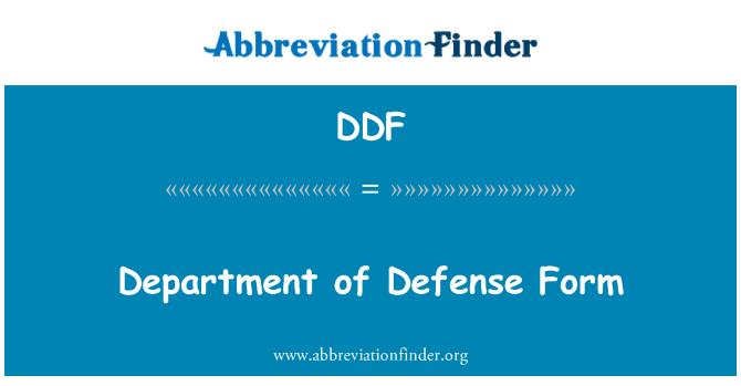 DDF: Department of Defense Form