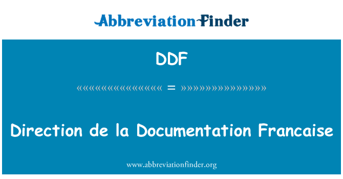 DDF: Direction de la Documentation Francaise