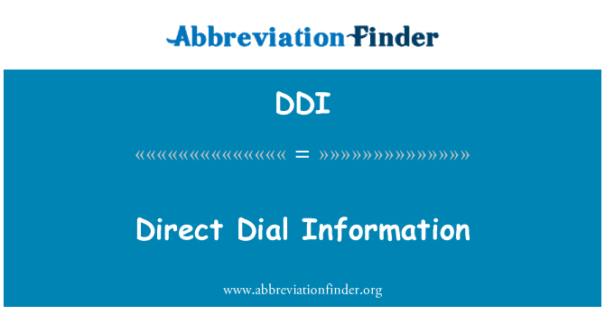 DDI: Direct Dial Information