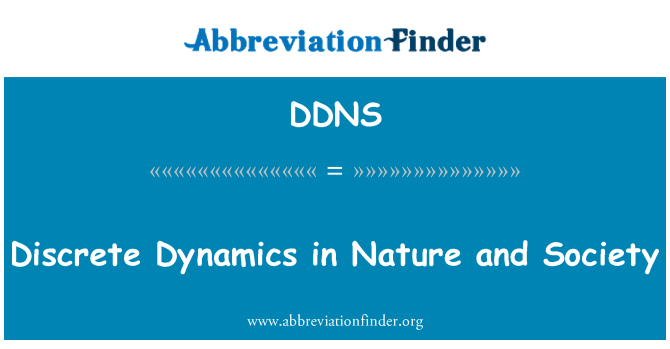 DDNS: Discrete Dynamics in Nature and Society