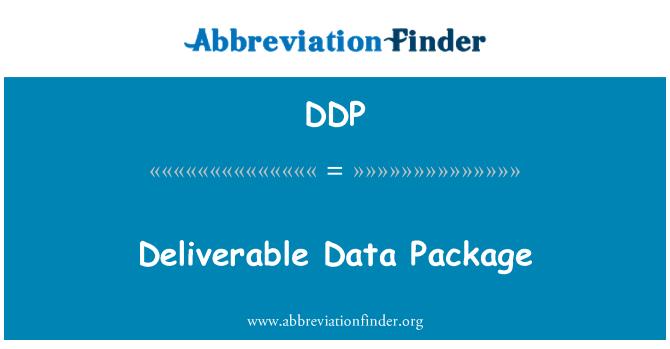 DDP: Deliverable Data Package