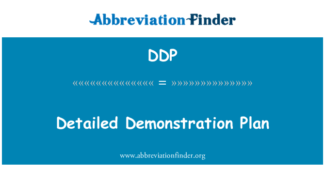 DDP: Detailed Demonstration Plan