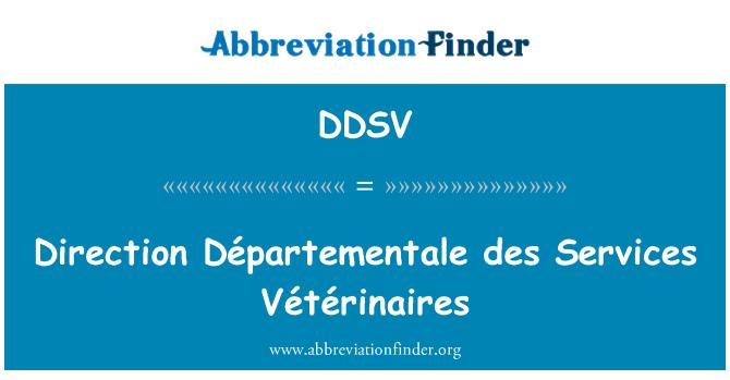 DDSV: Direction Départementale des Services Vétérinaires