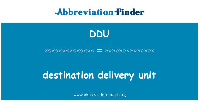 DDU: destination delivery unit