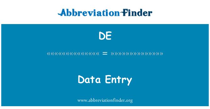 DE: Data Entry