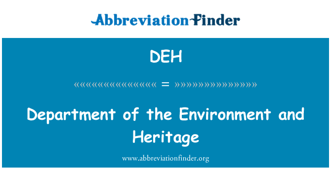 DEH: Department of the Environment and Heritage