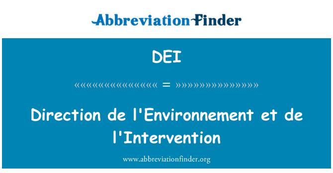 DEI: Direction de l'Environnement et de l'Intervention