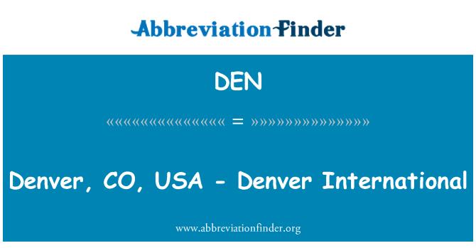 DEN: Denver, CO, Estados Unidos - internacional de Denver