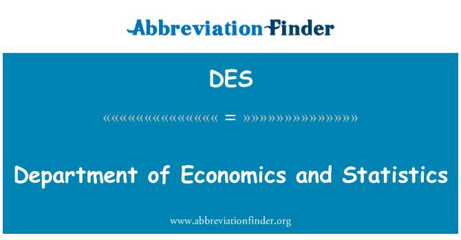DES: Department of Economics and Statistics