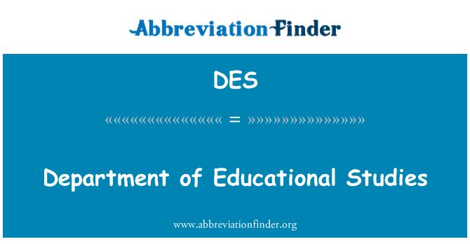 DES: Department of Educational Studies