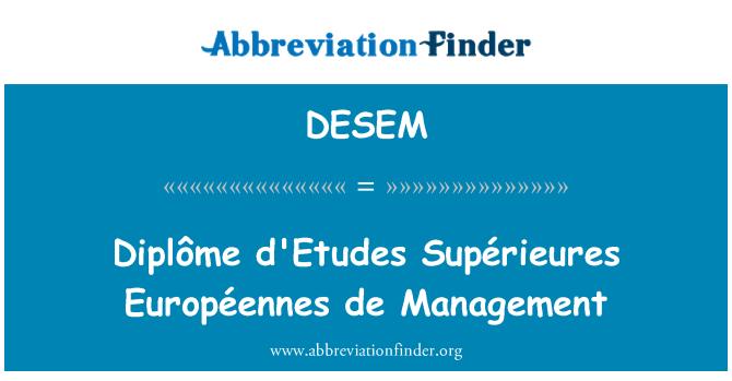 DESEM: 文凭年平米水源德管理
