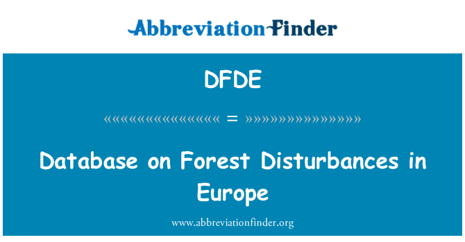DFDE: Database on Forest Disturbances in Europe