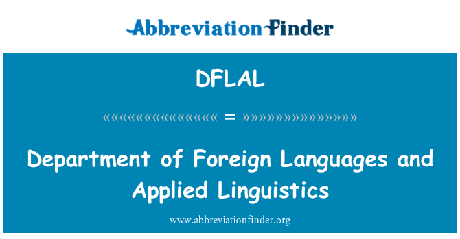 DFLAL: Department of Foreign Languages and Applied Linguistics