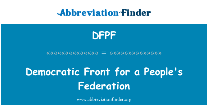DFPF: Democratic Front for a People's Federation