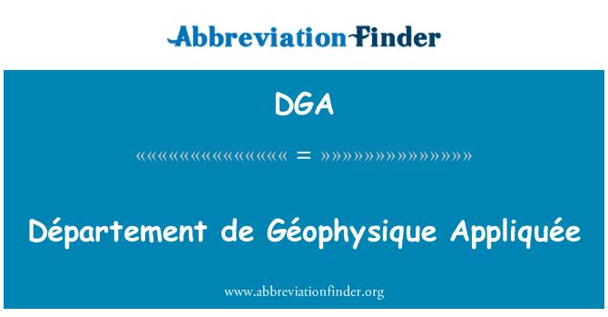 DGA: Département de Géophysique Appliquée