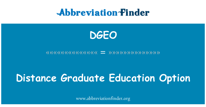 DGEO: Distance Graduate Education Option