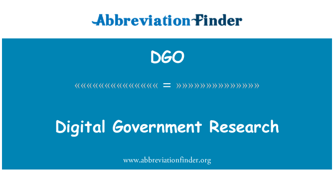 DGO: Digital Government Research
