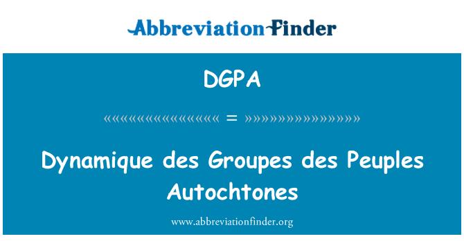 DGPA: Dynamique des Groupes des Peuples Autochtones