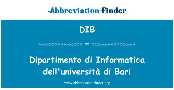 DIB: Dipartimento di Informatica dell'università di Bari
