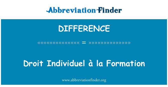 DIFFERENCE: Droit Individuel à la teket