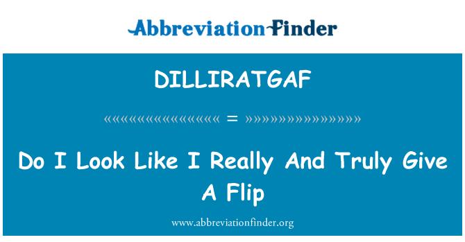 DILLIRATGAF: Do I Look Like I Really And Truly Give A Flip