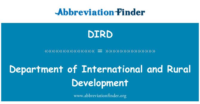 DIRD: Depatman entènasyonal ak developman riral