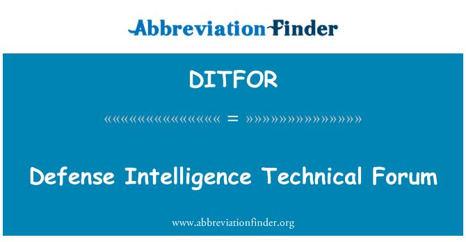 DITFOR: Defense Intelligence Technical Forum
