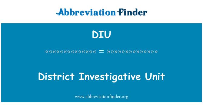 DIU: District Investigative Unit