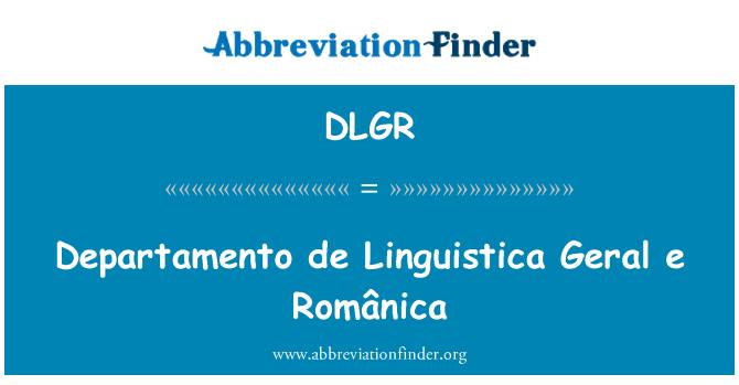 DLGR: Departamento de Linguistica Geral e Românica