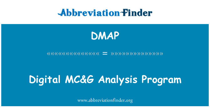 DMAP: Digital MC&G   Analysis Program