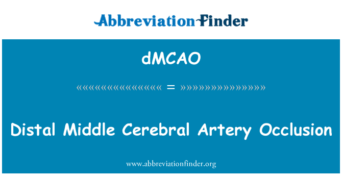 dMCAO: Distal Middle Cerebral Artery Occlusion