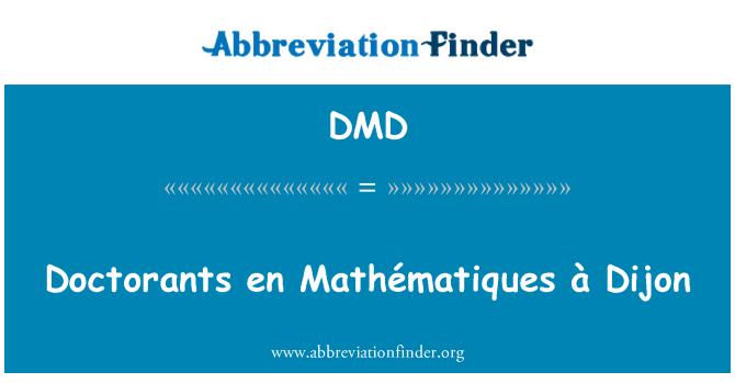DMD: Doctorants en Mathématiques à Dijon