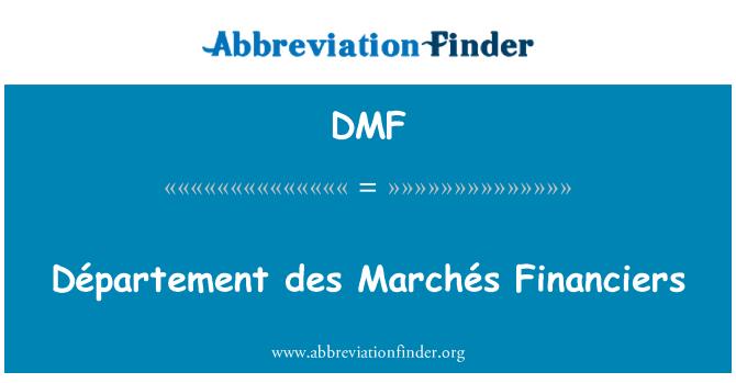 DMF: Département des Marchés Financiers