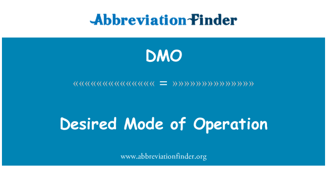 DMO: Desired Mode of Operation