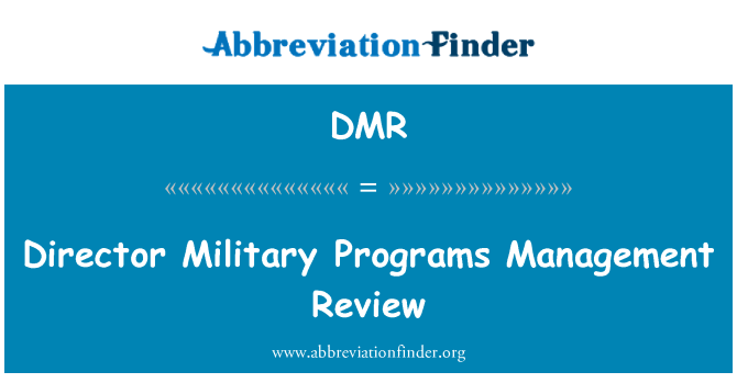 DMR: Director Military Programs Management Review