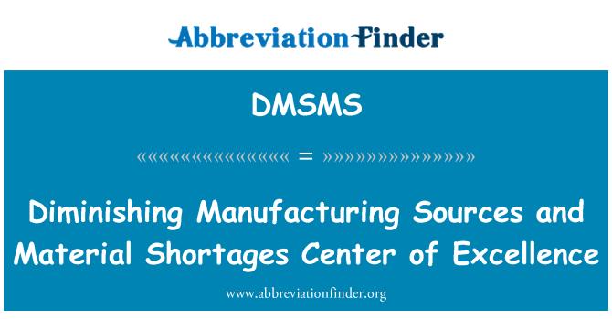 DMSMS: Disminución de la fabricación de fuentes y Material escasez de centro de excelencia