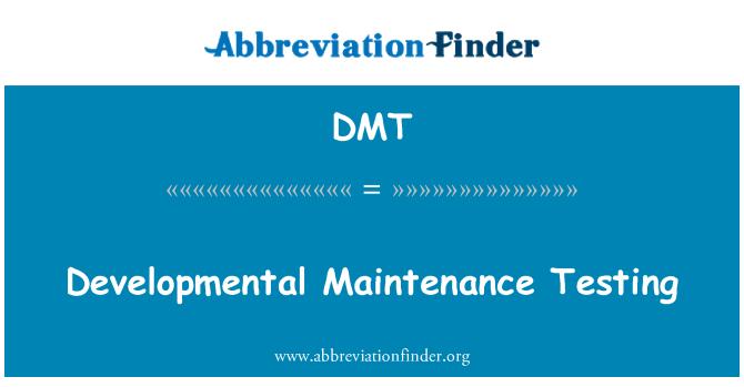 DMT: Developmental Maintenance Testing