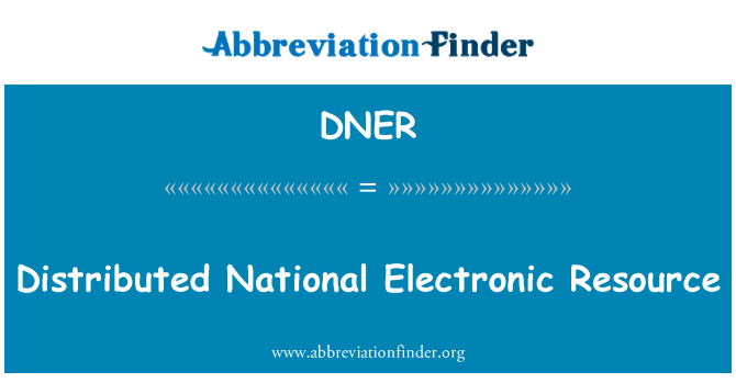 DNER: Distributed National Electronic Resource
