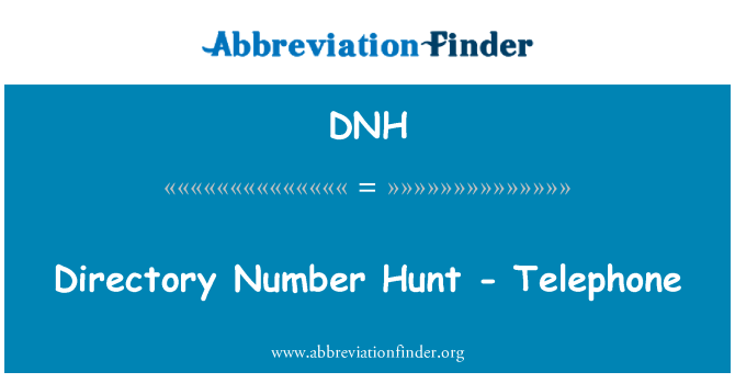 DNH: Directory Number Hunt - Telephone